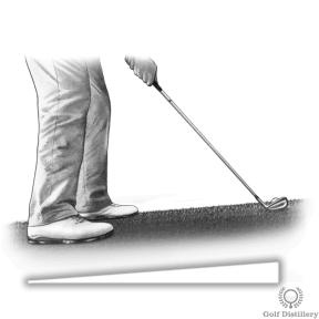 Golf lie where the ball is above the feet