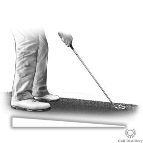 Golf lie where the ball is below the feet