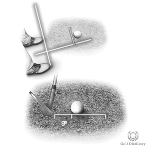 Bunker Shot Ball Position - Place the ball forward in your stance and aim 2 inches behind the ball