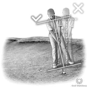Tilt your shoulders back to match the slope for upslope bunker shots