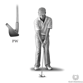 Chipping distance control set up using a pitching wedge