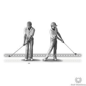 Chipping distance control technique - swing until clubhead reaches ankle level and execute same length follow through