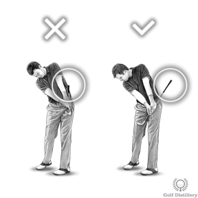 Chipping Drill - If the grip of the club strikes your body it means you are flicking your wrists at impact