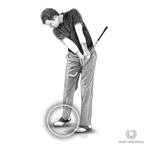 Allow your right heel to lift from the ground after hitting a chip shot