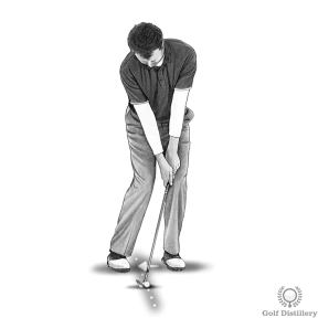 Position the ball back in your stance for a tight lie chip shot