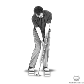 Press your hands and your weight forward when chipping from a tight lie