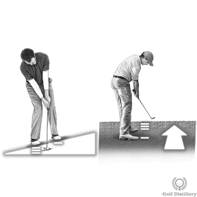 Transfer your weight forward when hitting a chip shot from an upslope