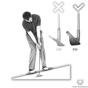 Use less loft when hitting a chip shot from an upslope
