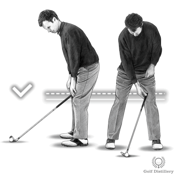Distance to the ball: end of club should come to rest an inch above your left knee cap