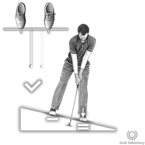 Place the ball back in your stance and your weight forward for a downhill lie