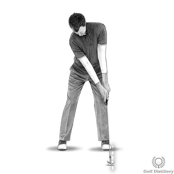 Position the ball way forward and on a tee for this fat shot drill
