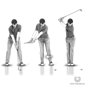 Golf Fat Shot Drill #3b - During the takeaway and backswing move your left foot towards your right foot