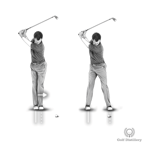 Golf Fat Shot Drill #3c - During the downswing move your right foot back to its original position