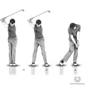 Golf Fat Shot Drill #3d - As you plant your left foot in its original position, hit the ball