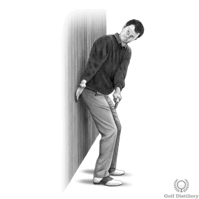 Backswing Drill - Step 1: Rest your back to a wall behind you