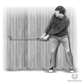 Backswing Drill - Step 2: Bring the club up to the halfway back position of the backswing (club parallel to the ground)