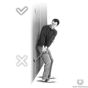 Backswing Drill - Step 4: If the clubhead strikes the wall before it reaches head level your backswing is too far inside
