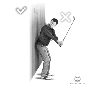 Backswing Drill - Step 5: If your clubhead never touches the wall your backswing is too far outside
