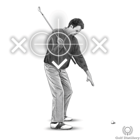 Backswing Drill - Step 3: When your elbow is at a 90 degree angle your chest should be between your hands and the target