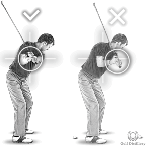 Your chest should be between the target and your hands at the halfway back position of the backswing