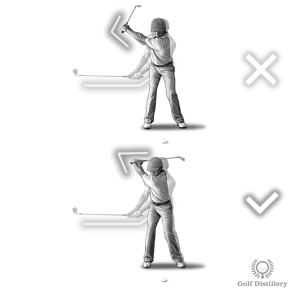 Your wrists should begin to hinge as you cross the halfway point of the backswing