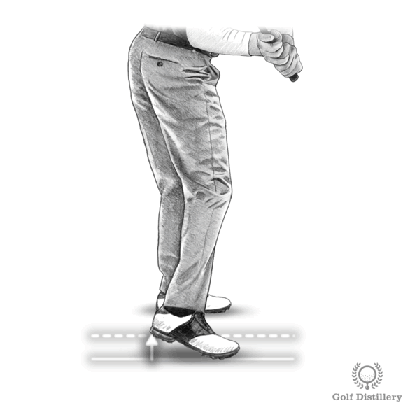 Golf downswing drill for correct weight transfer