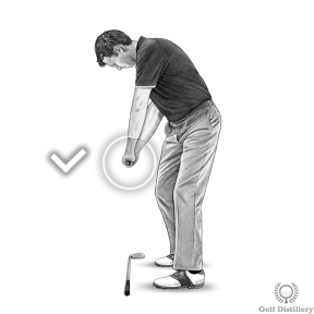 When the club is parallel to the ground the tee on your grip should point directly at the target