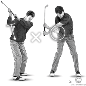 Don't pull your right elbow forward during the downswing