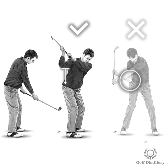 Golf downswing drill for the right elbow