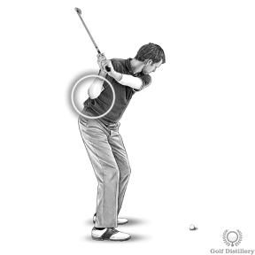 Pull your right elbow down during the downswing from the top of the golf swing