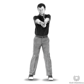 Golf Extension Drill - Step 1: Hold your club in front of you as you remain standing up