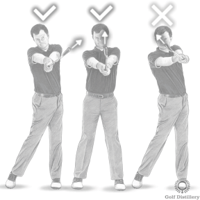 Golf Extension Drill - Step 5: When in front of you, the clubhead could point straight up or towards the target