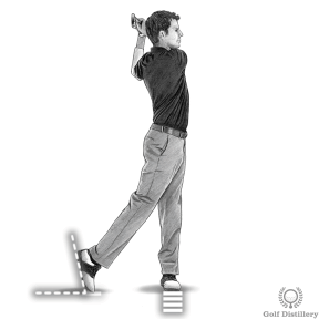 Your right heel should be off the ground during the follow through