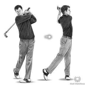 Practice with two clubs, aiming to finish your follow through in a standing and balanced position
