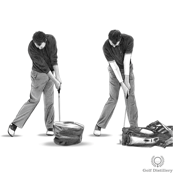 Golf Impact Drills - Hitting into an impact bag or pressing a golf bag forward