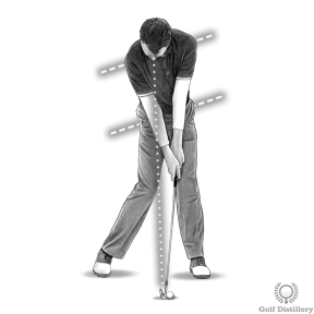 Your hips and shoulders should be open to the target at impact and your head down still