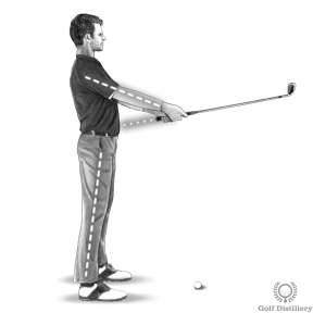 Golf Posture: Hold the club straight in front of you with the grip pointing at your belly button