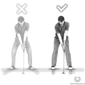 Golf Stance: Don't flare your feet out. A slight left foot flare is acceptable
