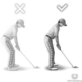 Golf Stance: Flex your knees a little; not too much