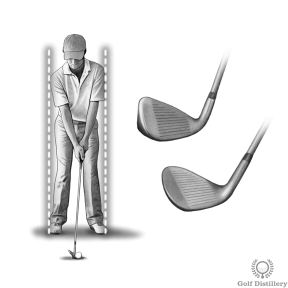 Use a narrower stance for short irons and wedges