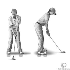 Golf Stance: Position your weight in the middle of your feet and equally between your two feet