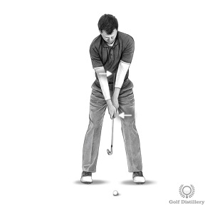 Grip the club down on the metal with the grip of the club against your belly in this takeaway drill