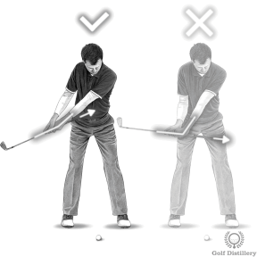 If your hands are too active in this takeaway drill you'll see the grip of the club moving away from your belly
