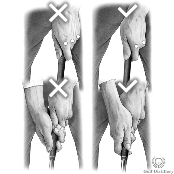 Comparison between a strong grip (left) a neutral grip (middle)