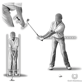 Grip the club a lower on the grip, narrow stance and shorter swing for a half swing pitch shot