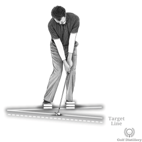Short Pitch Shot Setup - Move your weight forward and open your stance