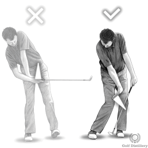 Keep your right hand on top of the ball when hitting pitch shots