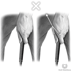 Golf grip where the left hand is in a too strong position