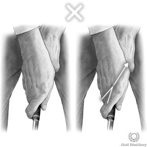 Golf grip where the right hand is in a too weak position