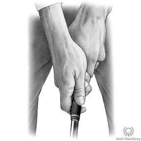 Proper Golf Grip - Place the fleshy pad of your right thumb directly on top of your left thumb